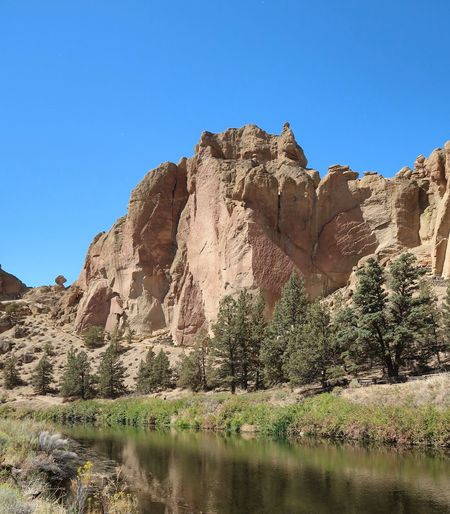 Vertical landscape of a river flowing by trees and tall vertical rock formations or cliffs in Smith Rock State Park in Oregon Trees River Smith Rock State Park Oregon Sky Scenics - Nature Tranquility Clear Sky Beauty In Nature Rock Rock Formation Rock - Object Tranquil Scene Mountain Day No People Solid Non-urban Scene Blue Remote Physical Geography Sunlight Nature Plant Clear Sky Travel Destinations Travel Water