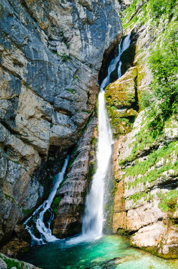 Savica waterfall at the Triglav National Park Tourist Attraction  Triglav National Park Beauty In Nature Blurred Motion Cliff Day Falling Water Flowing Flowing Water Land Long Exposure Motion Nature Outdoors Power In Nature Rock Rock - Object Rock Formation Savica Scenics - Nature Slowenia Solid Tourism Water Waterfall