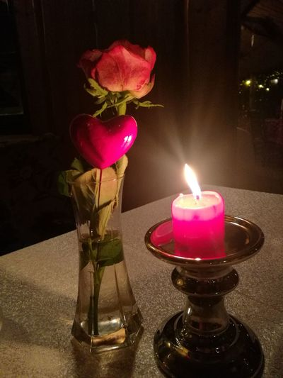 Candle Flame Burning Decoration Tea Light Flower Celebration Pink Color Table No People Night Heat - Temperature