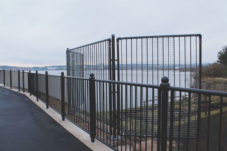 Cloudy Stripes Cardiff Bay Cardiff EyeEm Selects Railing Sky Metal Day Outdoors Bridge - Man Made Structure No People