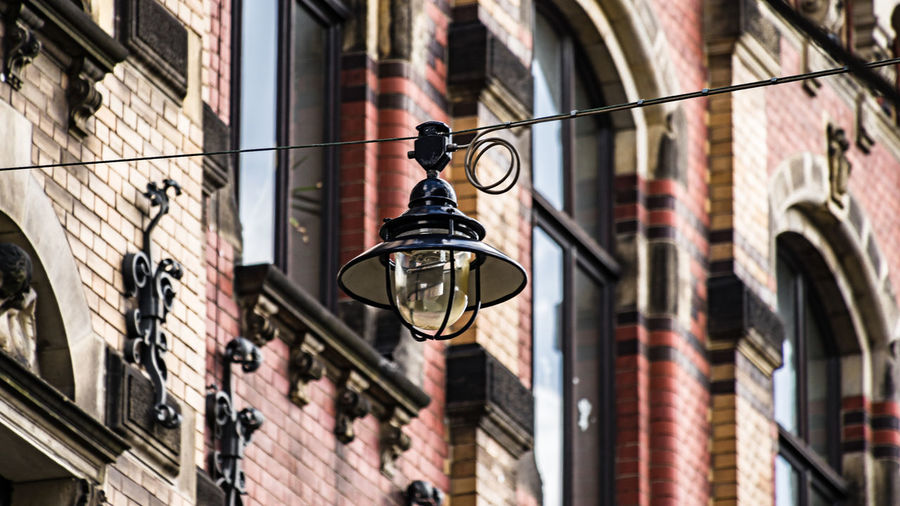 street light Architecture Brick Wall City Day Lamp No People Outdoors Street Lamp Street Light Wall - Building Feature
