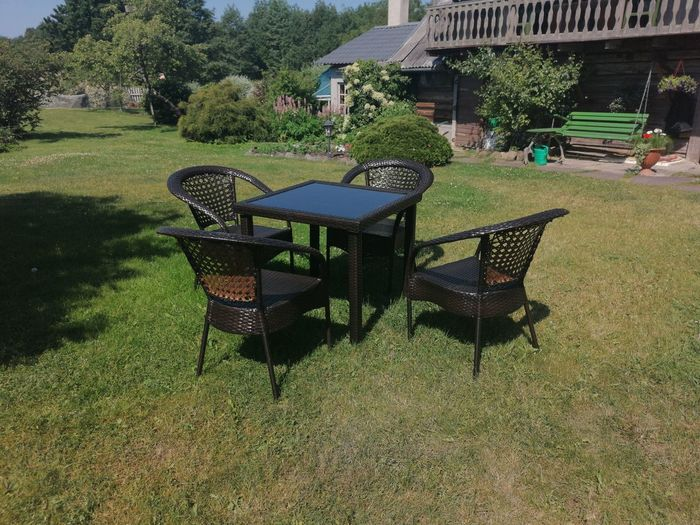 Chairs and table in lawn