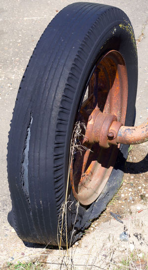 Close-up of tire in car