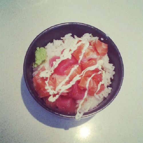 Sashimi with rice and mayo! It was the healthiest thing I could eat. :)