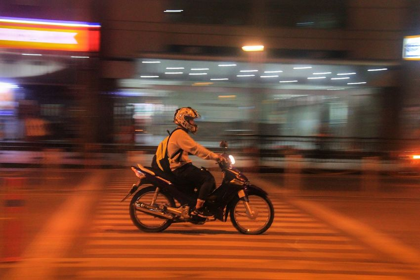 Night Nightphotography Night Photography Nightshot Street Panning EyeEm Gallery EyeEm EyeEm Best Shots EyeEmBestPics Blurred Motion Panning Shoot Panningphotography Transportation One Person Blurred Motion Mode Of Transport Riding Night Land Vehicle Motion Motorcycle Speed Adult