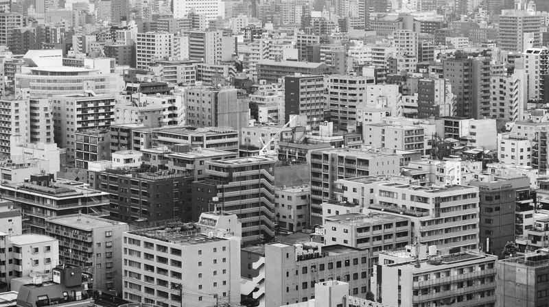 cityscape of Tokyo Aerial View Apartment Architecture Art Black And White Building Exterior Built Structure Busy City Cityscape Crowded Day Growth High Angle View House Outdoors Residential Building Skyscraper Tokyo,Japan Town View