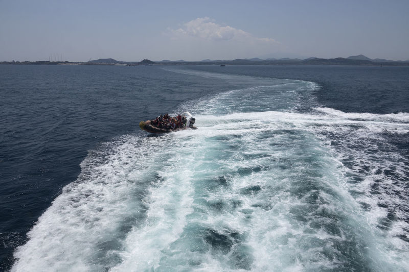 On board to Udo Island in Jeju Island, South Korea JEJU ISLAND  Beauty In Nature Boat Clear Sky Day Horizon Over Water Humpback Whale Jet Boat Motion Motor Boat Nature No People On Board On Boat Outdoors Scenics Sea Sky Udo Voyage Water Waterfront Wave