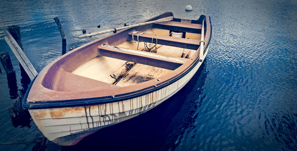 Boat Blue Boat Nature Ocean Outdoors Rippled Rowing Boat Sea Tranquil Scene Tranquility Water Still Life Fine Art Photography