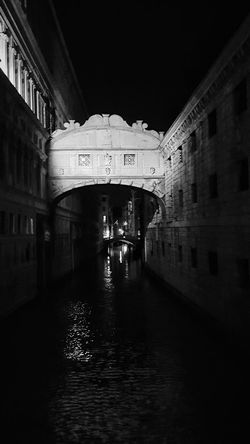 Architecture Arch Built Structure Travel Destinations History Bridge Bridge - Man Made Structure City Water No People Night Building Exterior Cityscape Sky Venezia Bridgeofsighs Black And White BW_photography Bw Photography B&w Photography B&w Sorrow Remorse Tranquility Thought Provoking