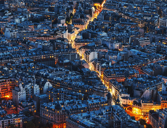 Aerial night view in Paris, France. Boulevard City Cityscape Downtown Nightphotography Paris Paris, France  Travel Aerial View Architecture Building Building Exterior Champs Elysees City City Life Cityscape Crowded District Illuminated Night Residential District Street Travel Destinations