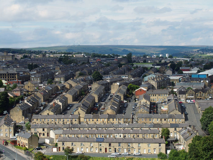 aerial view of halifax in west yorkshire Architecture Building Exterior Built Structure City Cityscape Cloud - Sky Day Halifax Uk High Angle View History Nature No People Outdoors Pennines Sky Travel Destinations Tree