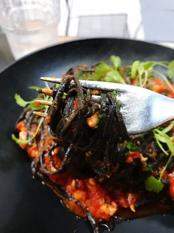 Squid Ink Pasta with Crab & Tomato Sauce In My Mouf 😋