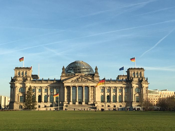 Facade Of Reichstag Building Against Sky