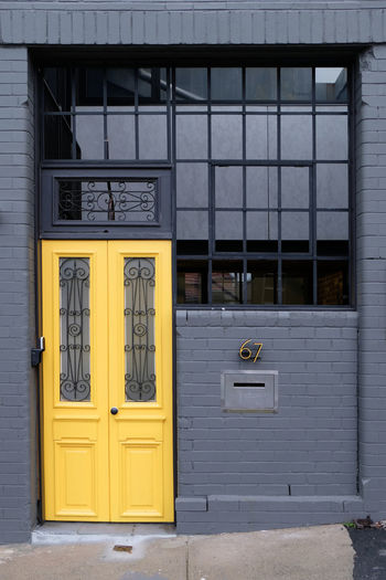 Sydney New South Wales  Architecture Building Exterior Built Structure Entrance Building Door No People Window Yellow City House Security Residential District Funky Yellow And Grey Terrace Leichhardt