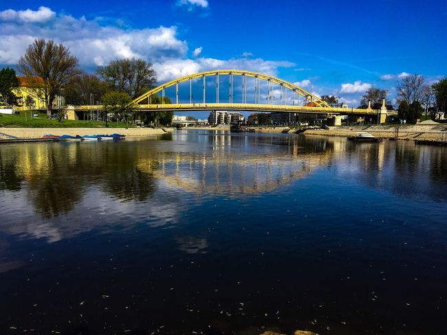 Bridge Bridge - Man Made Structure River Duna Riverside River View Raab Győr Water Reflection Tree Green White Sky Spring Architecture Reflection Blue City Outdoors Tree Nature Beauty In Nature Cloud - Sky Day