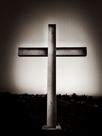 A steel cross on top of a mountain stands against the sky (black and white) Belief Black And White Blackandwhite Christ Christian Symbol Christianity Conceptual Concert Cross Crucifixion Faith Forgiveness Guidance Holy Hope Jesus Redemption Religion Religious  Resurrection Sal Savior Spirituality Symbol Symbolic