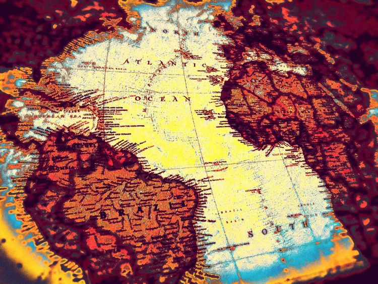 Vintage Style World Map Design Abstract Creativity Retro Styled