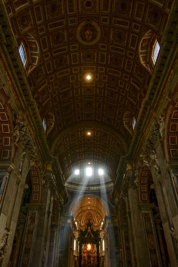 Rome Vatican Arch Architectural Feature Architecture Architecture And Art Building Built Structure Ceiling Cupola Directly Below Dome History Illuminated Indoors  Lighting Equipment Low Angle View Mural No People Pattern Place Of Worship Religion The Past Travel Destinations