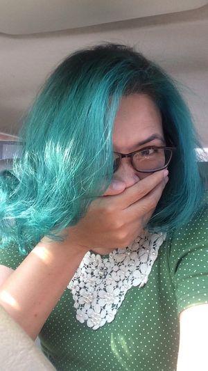 นางบอกว่า สีเมอเมด ตามนั้นนะ New Hair Color :) New Hair Color Hair Color Green