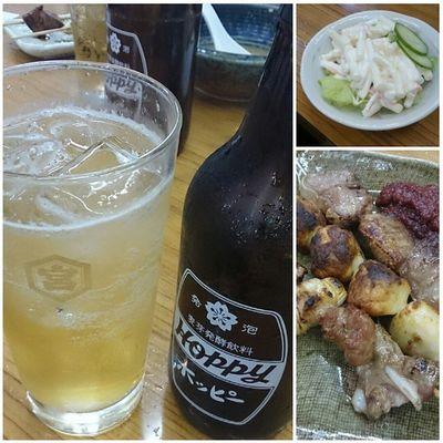 もつ焼き(ナンコツ、ツクネ、タン)、マカサラでホッピー! Drinking Hoppy 酒場 キンミヤ もつ焼き