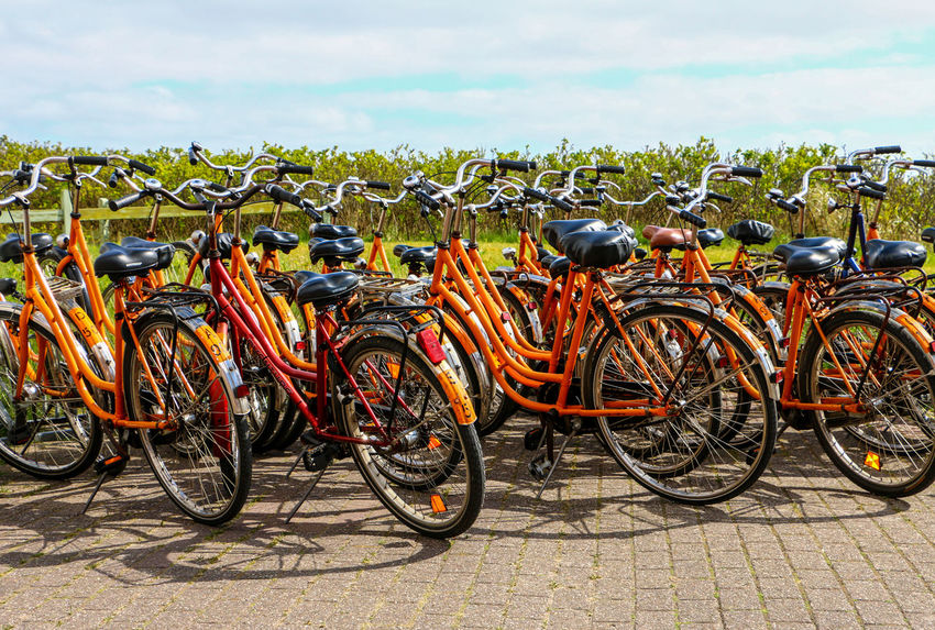 Beauty In Nature Bicycle Bikes Bycicle Bycicle Lovers Bycicle Photography Bycicles Close-up Day Juist Juist Nature And Sky Land Vehicle Nature No People Orange Orange Color Outdoors Sky Transportation