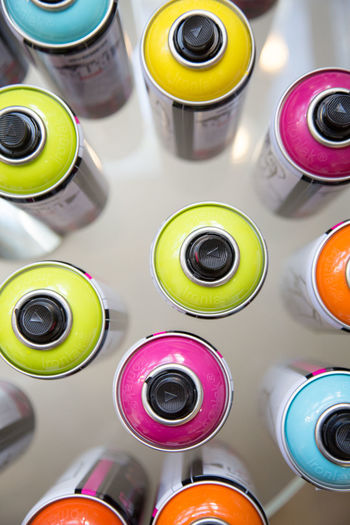 Spray cans. Colors Choice High Angle View Indoors  Multi Colored No People Painting Spray Paint Variation