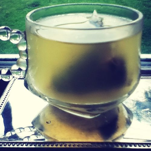 Cold white tea on a hor spring day Relaxing