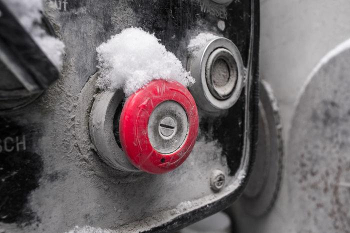 Emergency Button Red Red Button Shades Of Winter Close-up Cold Temperature Day High Angle View Land Vehicle Metal Mode Of Transport No People Outdoors Red Snow Stop Button Winter