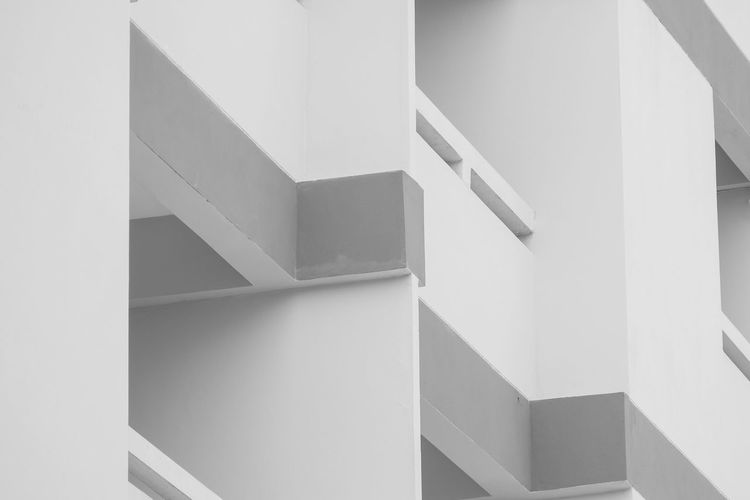 Architecture Built Structure No People Pattern Indoors  Wall - Building Feature Architectural Feature Close-up Full Frame White Color Building Modern Design Day Three Dimensional Steps And Staircases Staircase Low Angle View Concrete