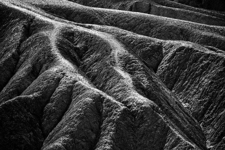 Sandstone structures at zabriskie point in the death valley national park