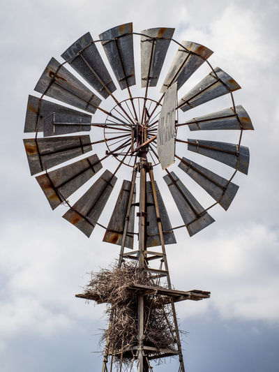 View of traditional windmill against sky, kruger national park, south africa