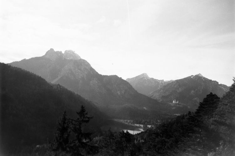Alps Analog Photography Analogue Photography Beauty In Nature Black And White Castle Day Fantasy Film Photography Germany High Landscape Moody Mountain Nature No People Outdoors Range Scenery Sky Spooky Valley