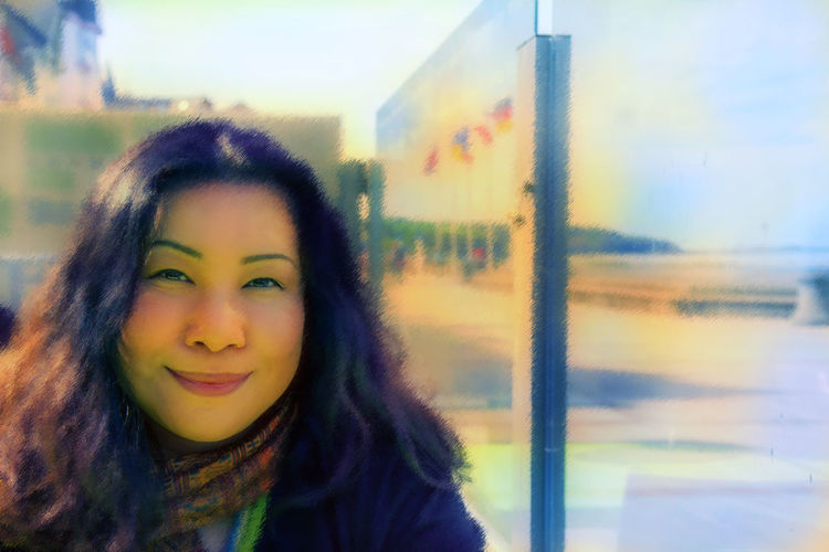 Art Asian Woman Black Hair Close-up Headshot Human Face Long Hair Pastel Colors Person Portrait Smiling