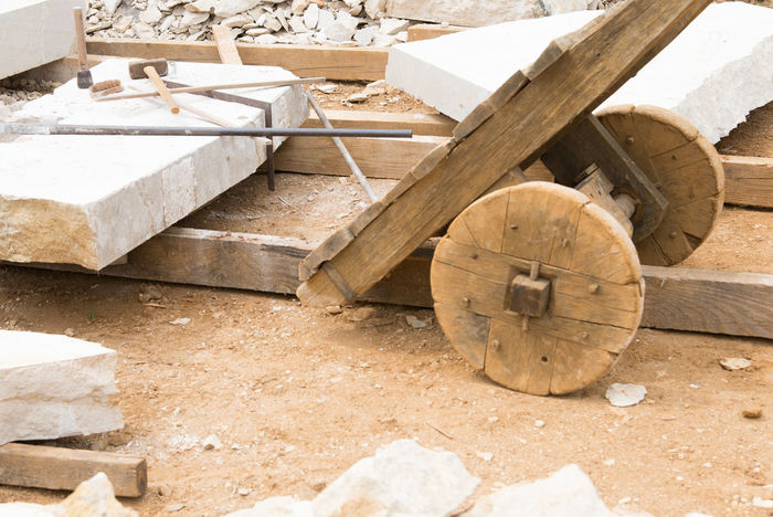 Trolley Architecture Built Structure Cart Close-up Construction Industry Construction Site Day Design Development Factory Industry Land Marble Nature No People Outdoors Shape Solid Stack Stonemason Stonemason Art Stonemasonry Timber Wood - Material