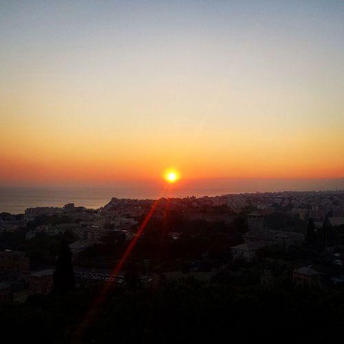 Italy Genova Sunset Sun Flare View Amazing Colors Orange Sea Sky Noclouds Horizon Light First Eyeem Photo Photography Photo Shoot Phoneography Nature Sunsetlover City City Lights City Landscape