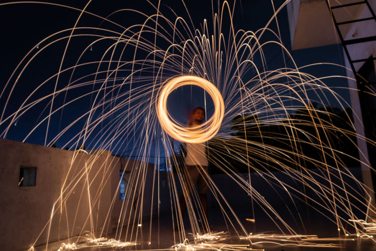Low angle view of light painting
