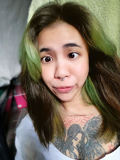 What do you think about this pic? Hahahaha 😂😜😝😅😈👽😁 Looking At Camera Happiness Enjoying Life Thailand Hello World Person First Eyeem Photo Thaigirl Septum Peircing ThatsMe Girlwithtattoos  Girlwithpiercings Funnygirl Tattoogirls Asaingirls 420life Tattoo Tattoos Loveit Funny Long Hair Withoutmakeup