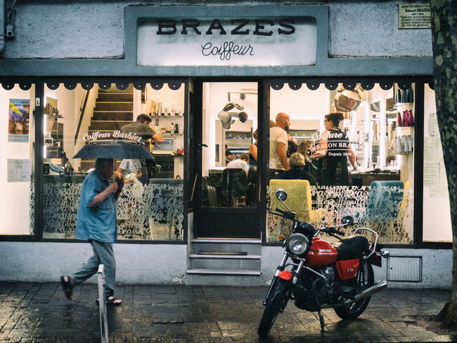 Barber Shop France Motorcycle Rain Bike City Coiffeur Real People Shop Street Streetphotography Transportation Umbrella Wet