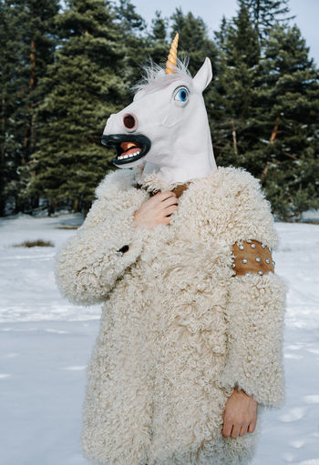Fur Fur Coat Unicorn Unicorn Head Portrait One Person Tree Snow Cold Temperature Winter Redefining Menswear