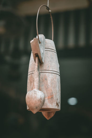 Focus On Foreground Hanging Metal No People Close-up Old Day Nature Rusty Hook Weathered Outdoors Water Wood - Material Equipment Bell Rope Protection