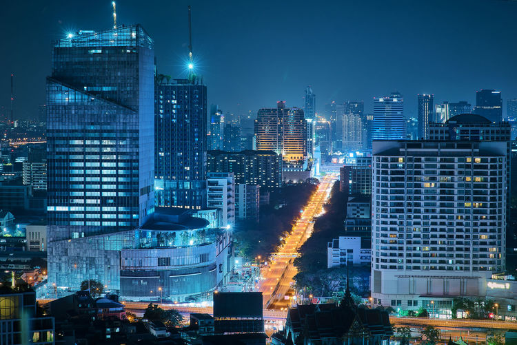 Building Exterior Architecture City Built Structure Building Cityscape Office Building Exterior Night Skyscraper Illuminated Modern Landscape City Life Residential District No People Urban Skyline Sky Travel Destinations Downtown District Office Financial District  Apartment Nightlife Long Exposure Bangkok