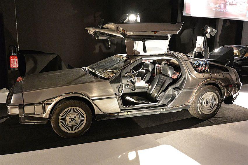 Aluminium American Cars Back To The Future Car Delorean DeloreanDMC Deloreandmc12 Deloreantimemachine Grey Color Indoors  Movie Cars Paris International Motor Show 2016