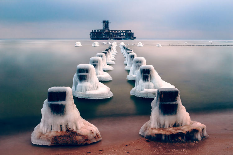 -16°C at the Torpedownia, a world war II leftover in the Baltic Sea in Gdynia Babie Doly Adventure Baltic Beach Frozen Frozen Nature Gdynia Ice Landscape Long Exposure Nature Poland Sea Snow Torpedownia Winter