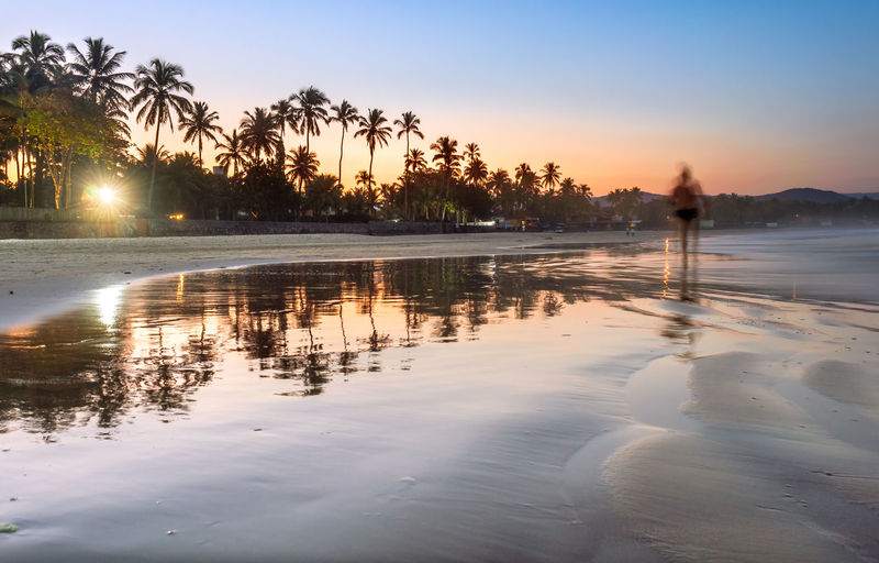 People walking on the beach in the afternoon Beach Beauty In Nature Idyllic Land Nature Non-urban Scene Outdoors Palm Tree Plant Reflection Scenics - Nature Silhouette Sky Sunset Swimming Pool Tranquil Scene Tranquility Tree Tropical Climate Water Summer In The City