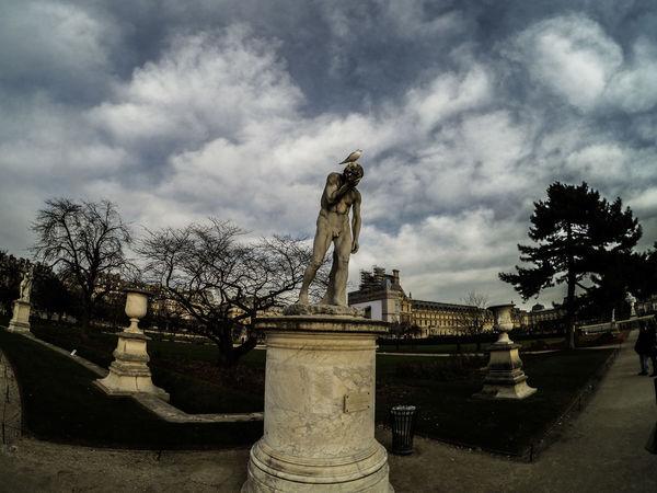 Poor Statue, shat by a bird... Bird Jardin Des Tuileries Outdoors Paris Sculpture ShitJustGotREAL Sky And Clouds Statue