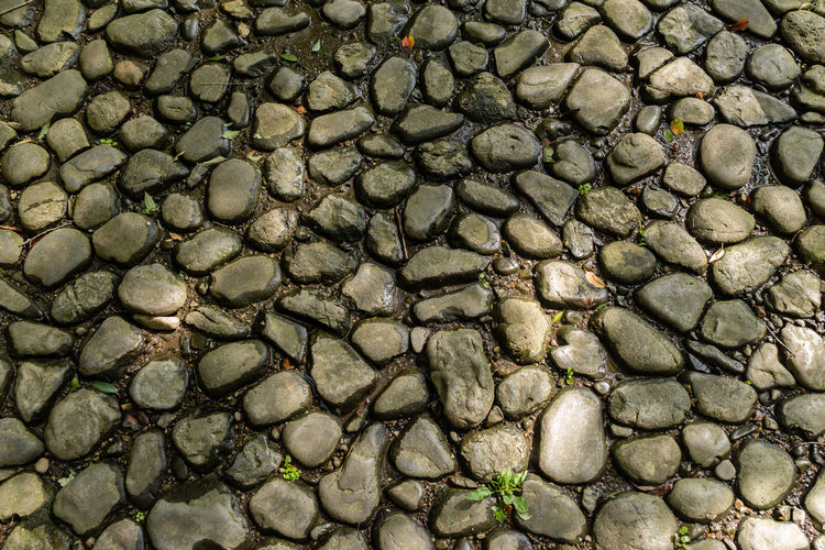 Full frame shot of stone paved footpath