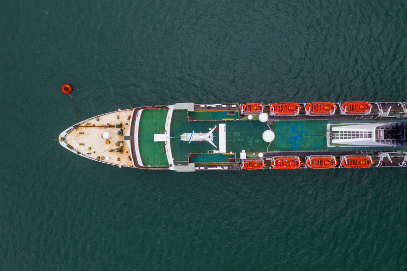 Directly above shot of container ship against sea