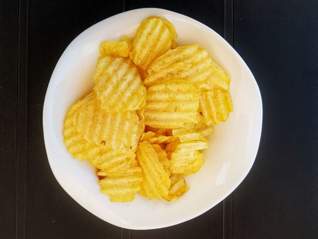 Yellow Prepared Potato Food Directly Above Food And Drink Close-up Ready-to-eat Freshness Potato Chips Crisps Snack Oily Food Fried With Beer Paint The Town Yellow