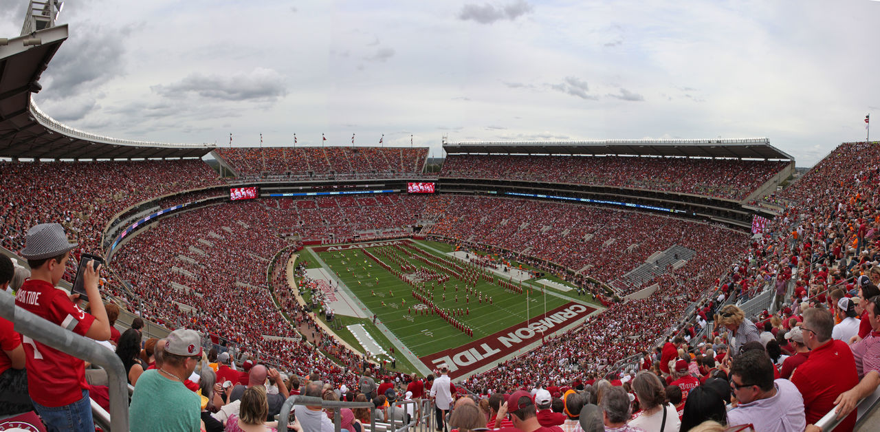 The University of Alabama Million Dollar stadium view of Halftime show at Bryant Denny Stadium Activity Bama Bryant Denny Stadium Crimson Tide  Crowd Football Halftime Large Group Of People Leisure Activity Million Dollar Band Spectator Stadium Tuscaloosa University Of Alabama Watching Weekend Activities The Color Of Sport