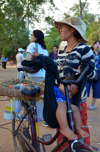 Bicycle Casual Clothing Day Happiness Leisure Activity Lifestyles Outdoors People Real People Togetherness Women